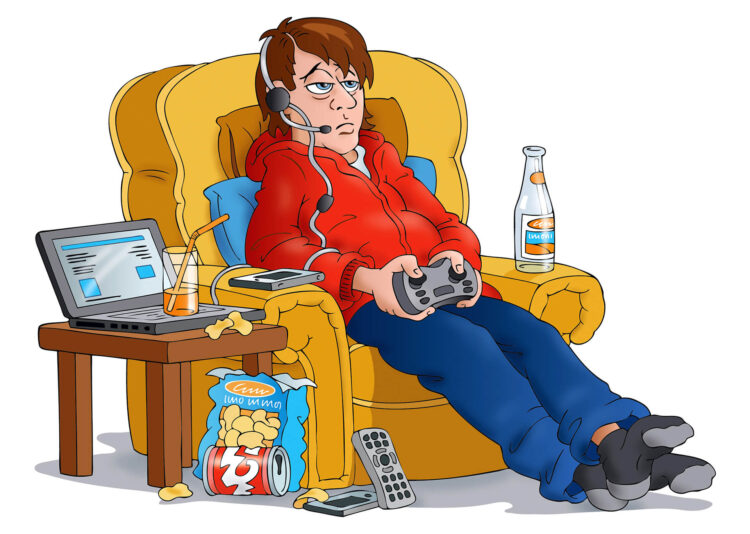 Teenage boy playing computer games